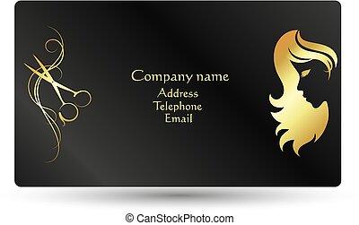 cartão, salão, beleza, negócio, cabeleireiras