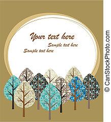 cartão, saudação, árvores, modelo