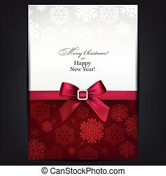 cartão, saudação, bow., vermelho