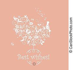 cartão, saudação, cute, decorativo