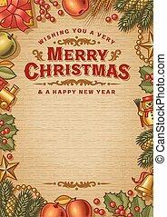cartão, saudação, espaço, vindima, natal, feliz, cópia