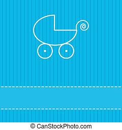 cartão, saudação, ilustração, vetorial, modelo, bebê