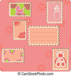 cartão, saudação, stamps., muitos