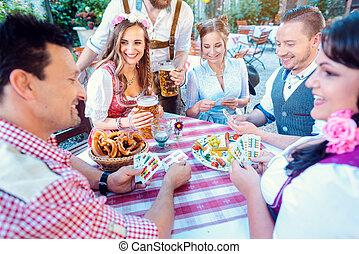 cartão, tradicional, cerveja, jogo, alemão, jardim
