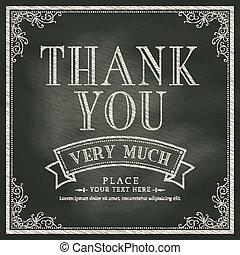 cartão, tu, agradecer, fundo, chalkboard