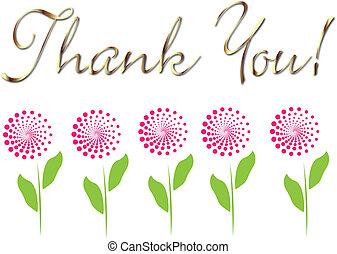 cartão, tu, flores, agradecer, ouro