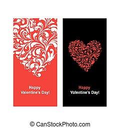 cartão valentine, com, forma coração, para, seu, desenho