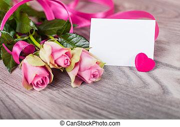 cartão valentine, com, rosas, ligado, madeira