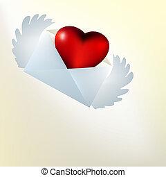 cartão valentine, com, voando, vidro, heart., eps, 8