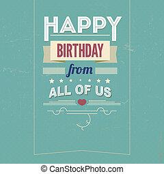 cartão, vindima, fontes, aniversário, retro, feliz