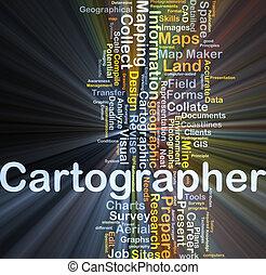 cartógrafo, conceito, glowing, fundo