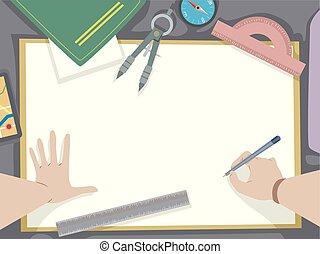 cartógrafo, papel, ilustração, mãos