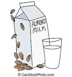 cartón, almendra, leche