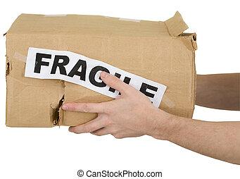 """cartón, arrugado, """"fragile"""", inscripción, caja"""