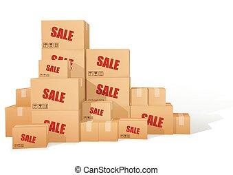 cartón, boxes., venta