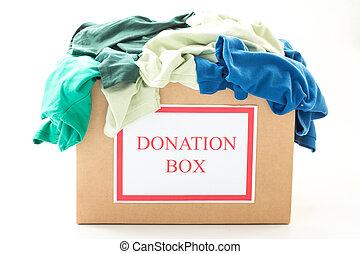cartón, caja donativo, con, ropa