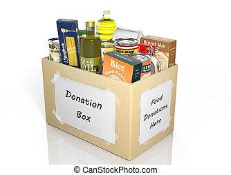 cartón, caja donativo, lleno, con, productos, aislado,...