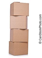 cartón, cajas, blanco, aislado, plano de fondo