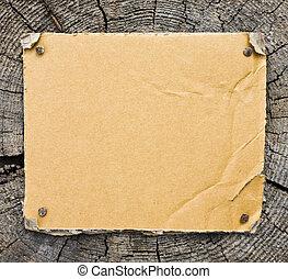 cartón, en, de madera, plano de fondo