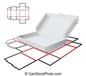 cartón, esquema, corte