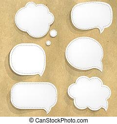 cartón, estructura, con, blanco, papel, discurso, burbujas