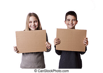cartón, niños, señales
