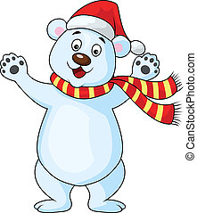 cartón, oso, feliz