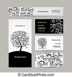 cartões, árvore, desenho, pessoas negócio