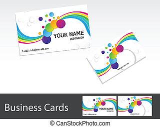cartões, abstratos, coloridos, negócio