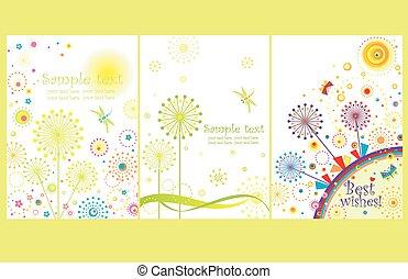 cartões, abstratos, dandelions
