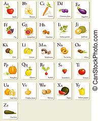 cartões, alfabeto, legumes, frutas