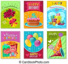 cartões, aniversário, saudação, feliz