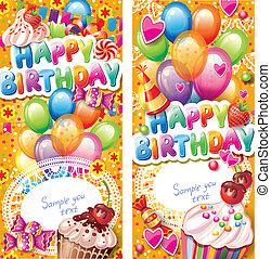 cartões, aniversário, vertical, feliz