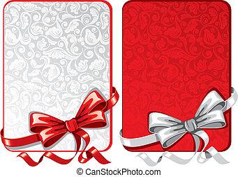 cartões, arcos, jogo, saudação