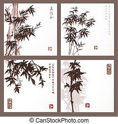 cartões, bambu, jogo, árvores
