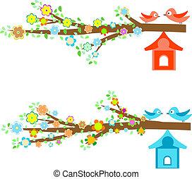 cartões, birdhouses, ramos, pássaros, sentando
