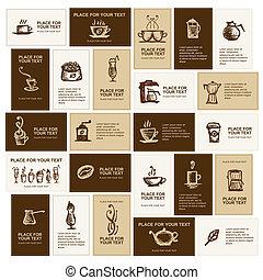 cartões, café, desenho, companhia, negócio