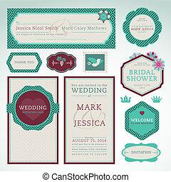 cartões, casório, jogo, convite