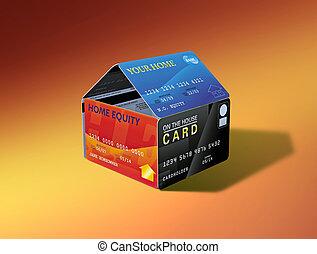 cartões, casa, capital próprio, lar
