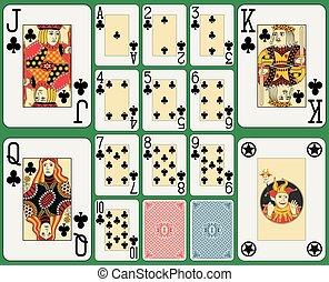 cartões, clube, tocando, blackjack, paleto
