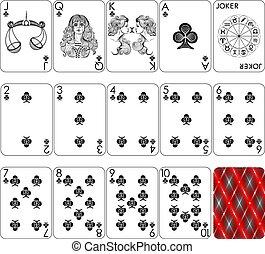 cartões, clube, tocando, mínimo, paleto