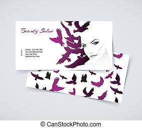 cartões, com, mulher