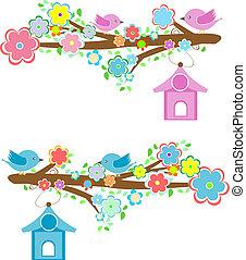 cartões, com, pares, de, pássaros, sentando, ligado, ramos, e, birdhouses