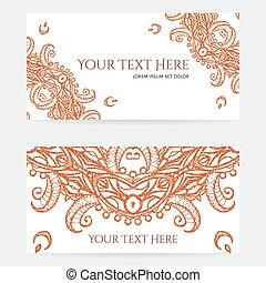 cartões, complicado, henna, padrões