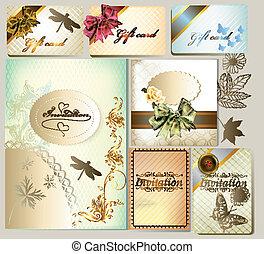 cartões, convite, wi, presente, luxo