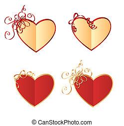 cartões, coração, arcos, dado forma