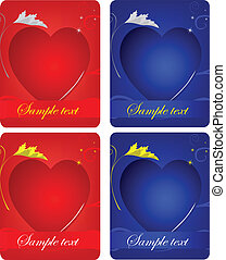 cartões, corações, jogo