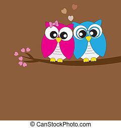 Cartões, coruja, Amor