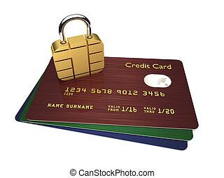 cartões crédito, com, sim, padlock, isolado, sobre, fundo branco