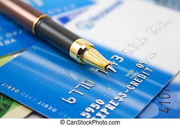 cartões crédito, e, caneta